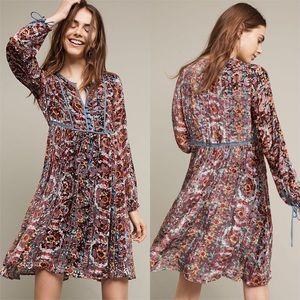 Anthropologie Floreat Abia Velvet Peasant Dress